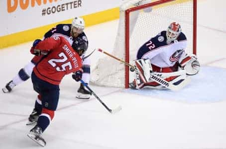 Devante Smith-Pelly, playoff goal, Sergei Bobrovsky, washington capitals, Columbus Blue Jackets