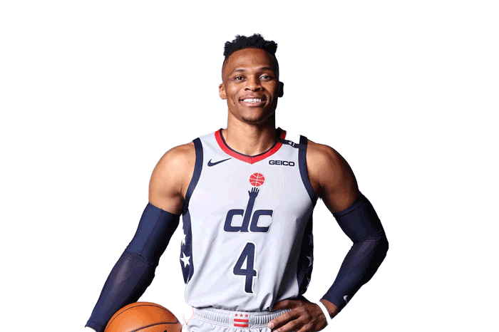 Russell Westbrook team photo holding basketball smiling